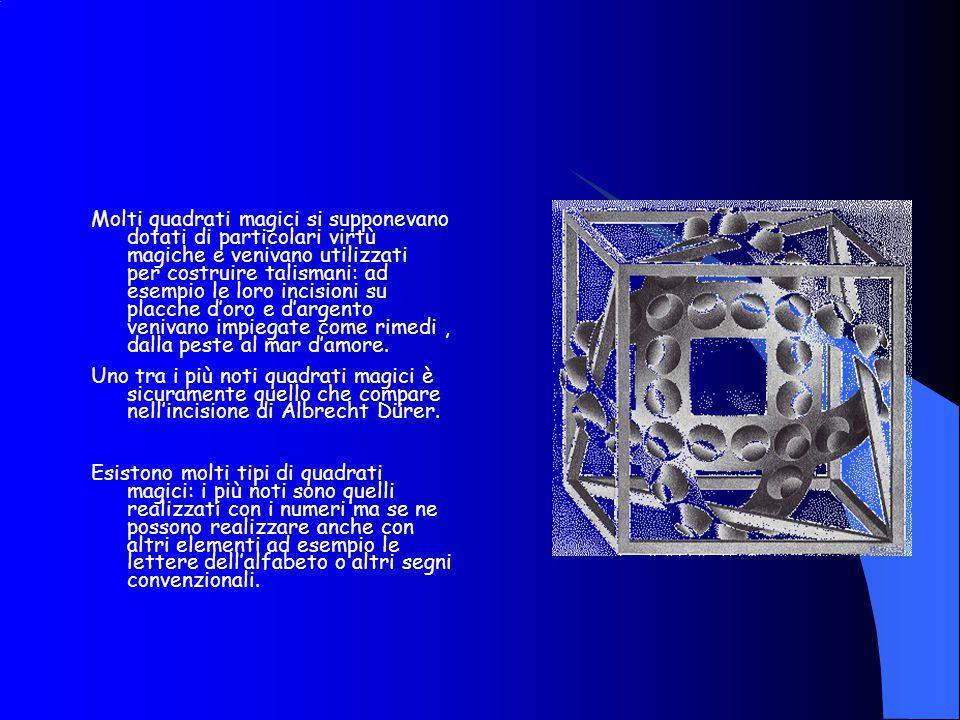 I requisiti dei quadrati magici: Sono formati da un minimo di tre caselle per lato; I numeri che vengono utilizzati per riempire le caselle devono avere una sequenza logica e non possono essere ripetuti I numeri della sequenza devovo essere disposti nelle caselle in modo che la somma di ciascuna riga, di ciascuna colonna e di ciascuna diagonale diano come totale un valore sempre identico.