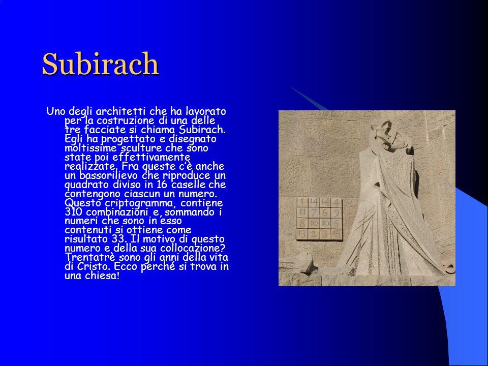 Subirach Uno degli architetti che ha lavorato per la costruzione di una delle tre facciate si chiama Subirach.
