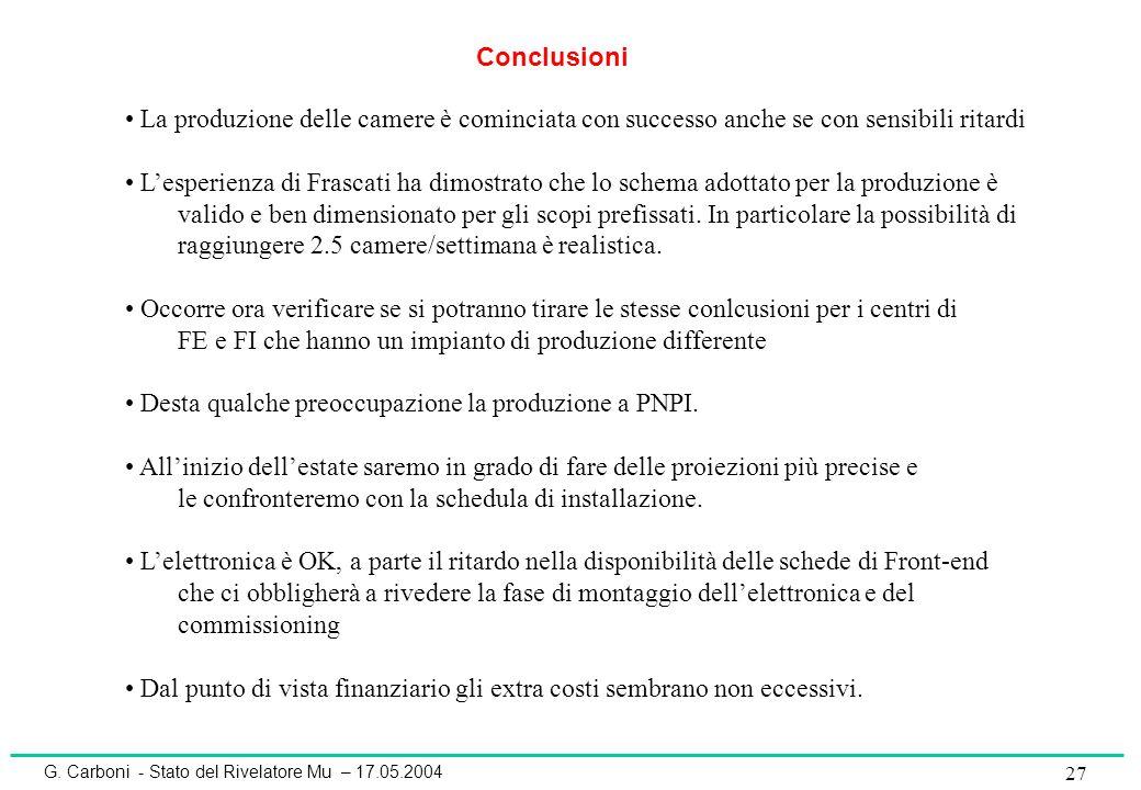 G. Carboni - Stato del Rivelatore Mu – 17.05.2004 27 Conclusioni La produzione delle camere è cominciata con successo anche se con sensibili ritardi L