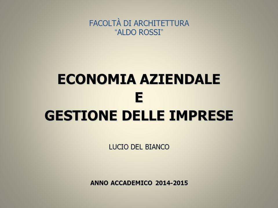 """FACOLTÀ DI ARCHITETTURA """" ALDO ROSSI """" ECONOMIA AZIENDALE E GESTIONE DELLE IMPRESE LUCIO DEL BIANCO ANNO ACCADEMICO 2014-2015"""