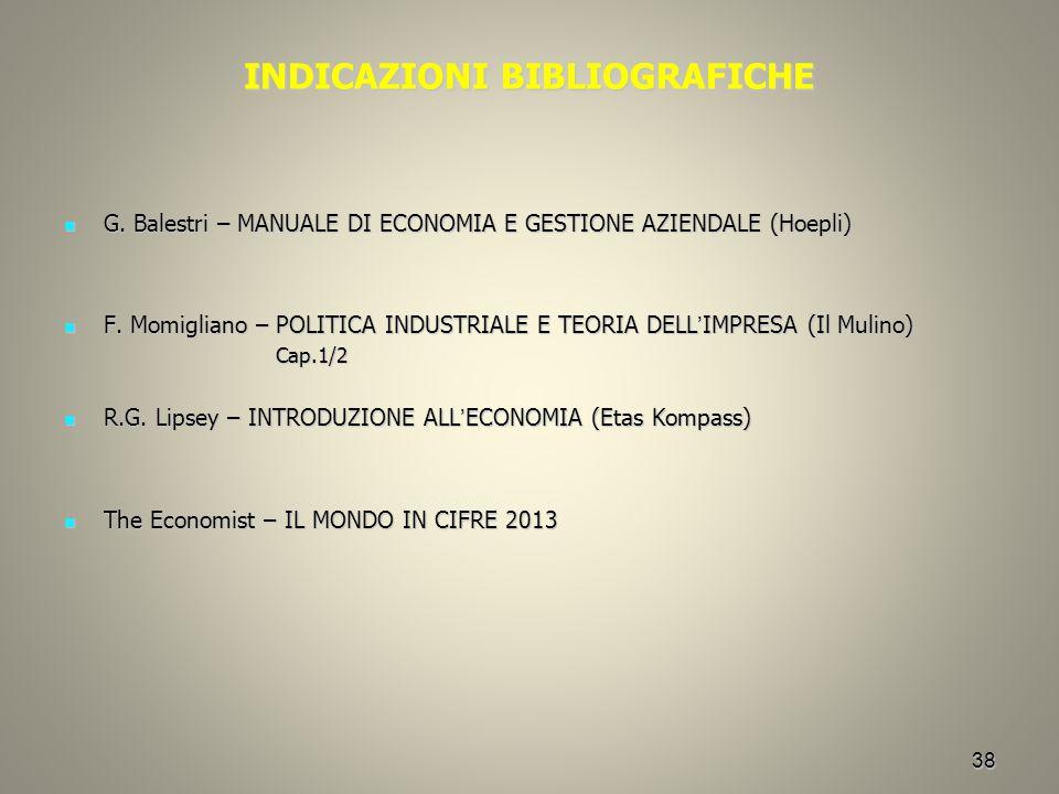 38 INDICAZIONI BIBLIOGRAFICHE G. Balestri – MANUALE DI ECONOMIA E GESTIONE AZIENDALE (Hoepli) G. Balestri – MANUALE DI ECONOMIA E GESTIONE AZIENDALE (