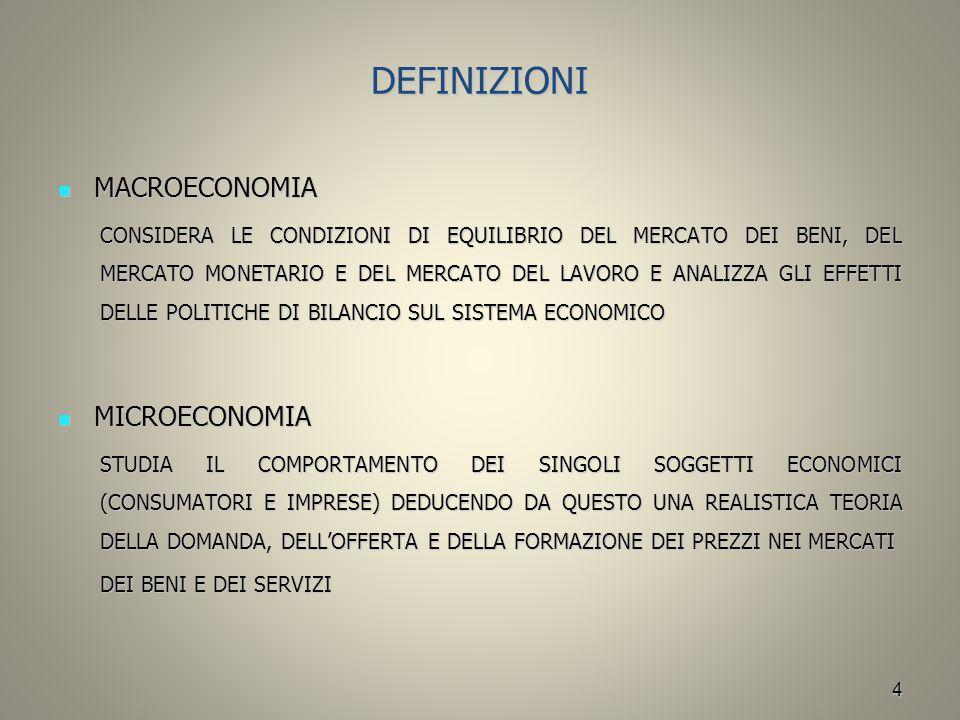 4 DEFINIZIONI MACROECONOMIA MACROECONOMIA CONSIDERA LE CONDIZIONI DI EQUILIBRIO DEL MERCATO DEI BENI, DEL MERCATO MONETARIO E DEL MERCATO DEL LAVORO E