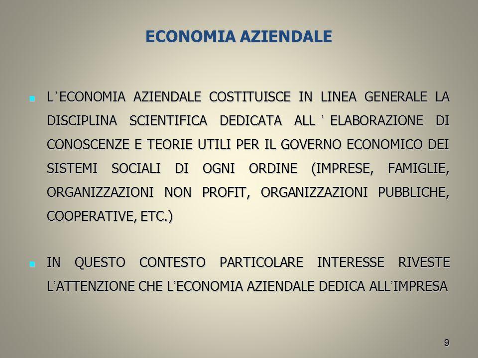 9 ECONOMIA AZIENDALE L ' ECONOMIA AZIENDALE COSTITUISCE IN LINEA GENERALE LA DISCIPLINA SCIENTIFICA DEDICATA ALL ' ELABORAZIONE DI CONOSCENZE E TEORIE