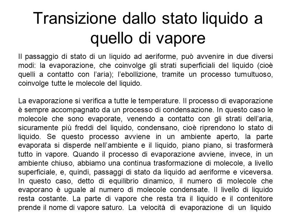 Transizione dallo stato liquido a quello di vapore Il passaggio di stato di un liquido ad aeriforme, può avvenire in due diversi modi: la evaporazione, che coinvolge gli strati superficiali del liquido (cioè quelli a contatto con l'aria); l'ebollizione, tramite un processo tumultuoso, coinvolge tutte le molecole del liquido.