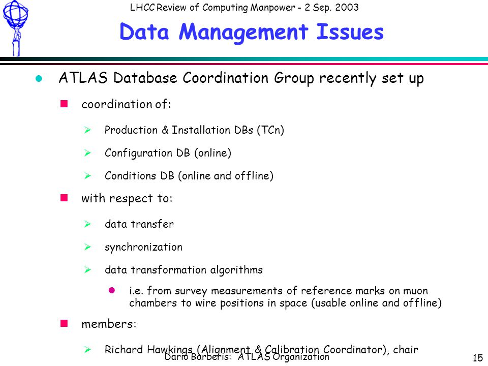 Dario Barberis: ATLAS Organization LHCC Review of Computing Manpower - 2 Sep.