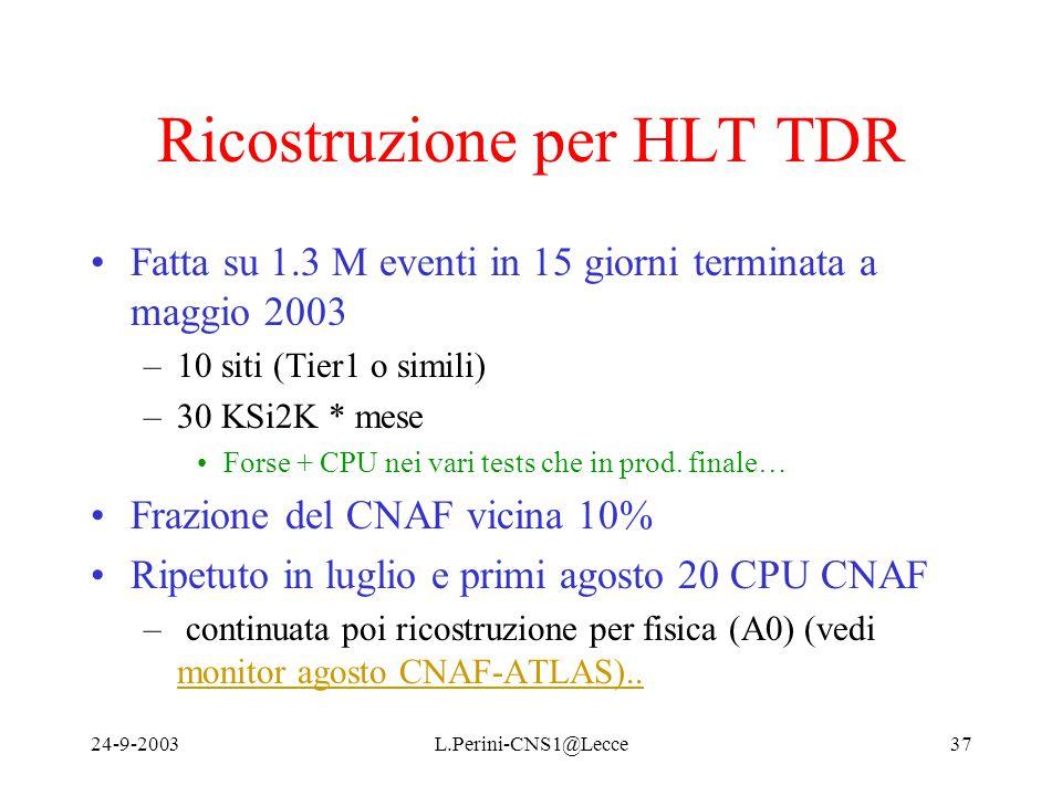 24-9-2003L.Perini-CNS1@Lecce37 Ricostruzione per HLT TDR Fatta su 1.3 M eventi in 15 giorni terminata a maggio 2003 –10 siti (Tier1 o simili) –30 KSi2K * mese Forse + CPU nei vari tests che in prod.