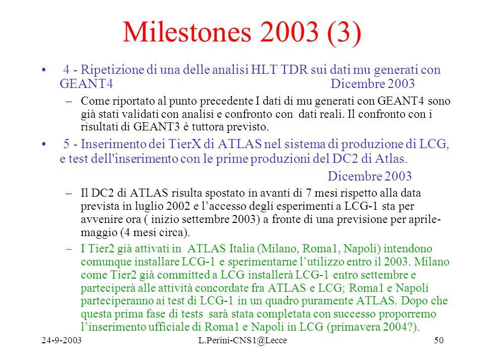 24-9-2003L.Perini-CNS1@Lecce50 Milestones 2003 (3) 4 - Ripetizione di una delle analisi HLT TDR sui dati mu generati con GEANT4 Dicembre 2003 –Come riportato al punto precedente I dati di mu generati con GEANT4 sono già stati validati con analisi e confronto con dati reali.