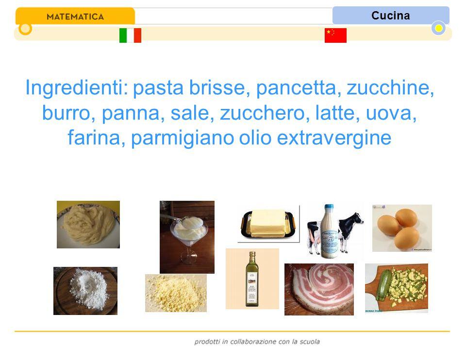Cucina Ingredienti: pasta brisse, pancetta, zucchine, burro, panna, sale, zucchero, latte, uova, farina, parmigiano olio extravergine