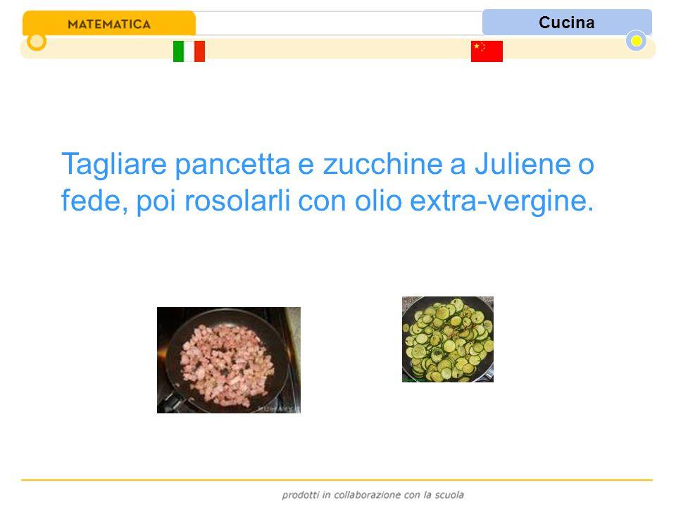 Cucina Tagliare pancetta e zucchine a Juliene o fede, poi rosolarli con olio extra-vergine.