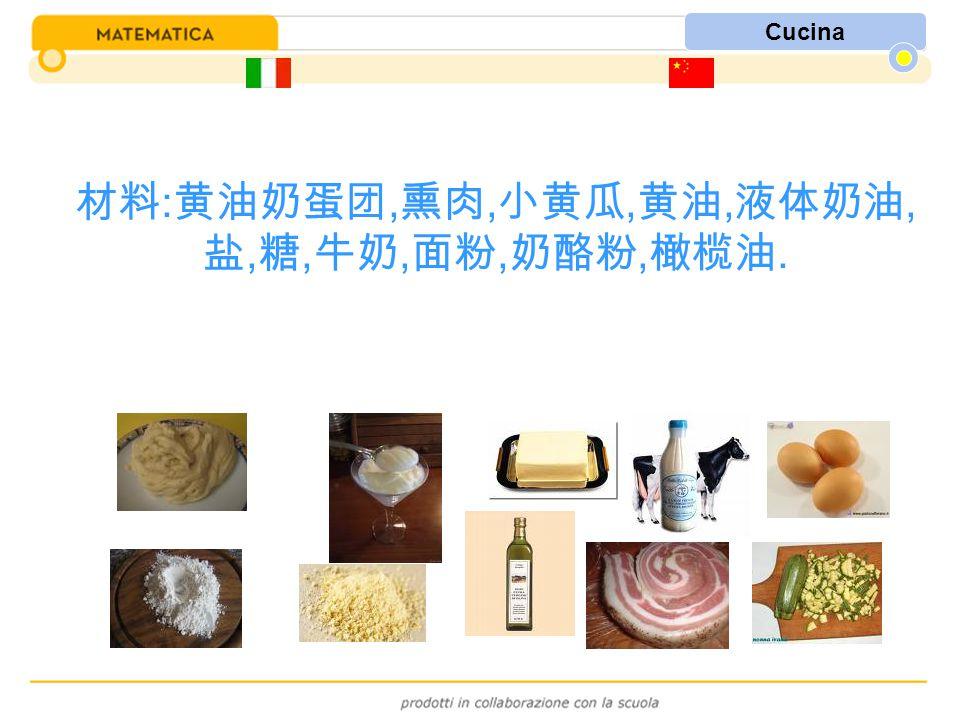 Cucina 材料 : 黄油奶蛋团, 熏肉, 小黄瓜, 黄油, 液体奶油, 盐, 糖, 牛奶, 面粉, 奶酪粉, 橄榄油.