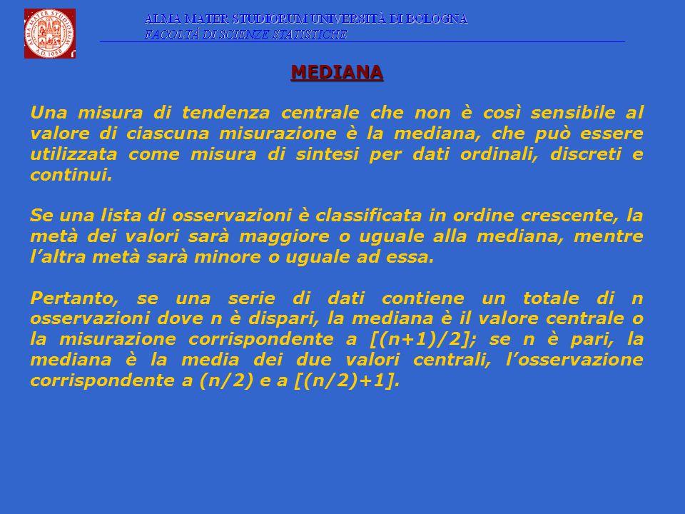 MEDIANA Una misura di tendenza centrale che non è così sensibile al valore di ciascuna misurazione è la mediana, che può essere utilizzata come misura di sintesi per dati ordinali, discreti e continui.