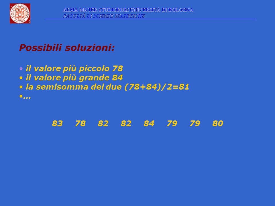 Possibili soluzioni: il valore più piccolo 78 il valore più grande 84 la semisomma dei due (78+84)/2=81 … 8378828284797980