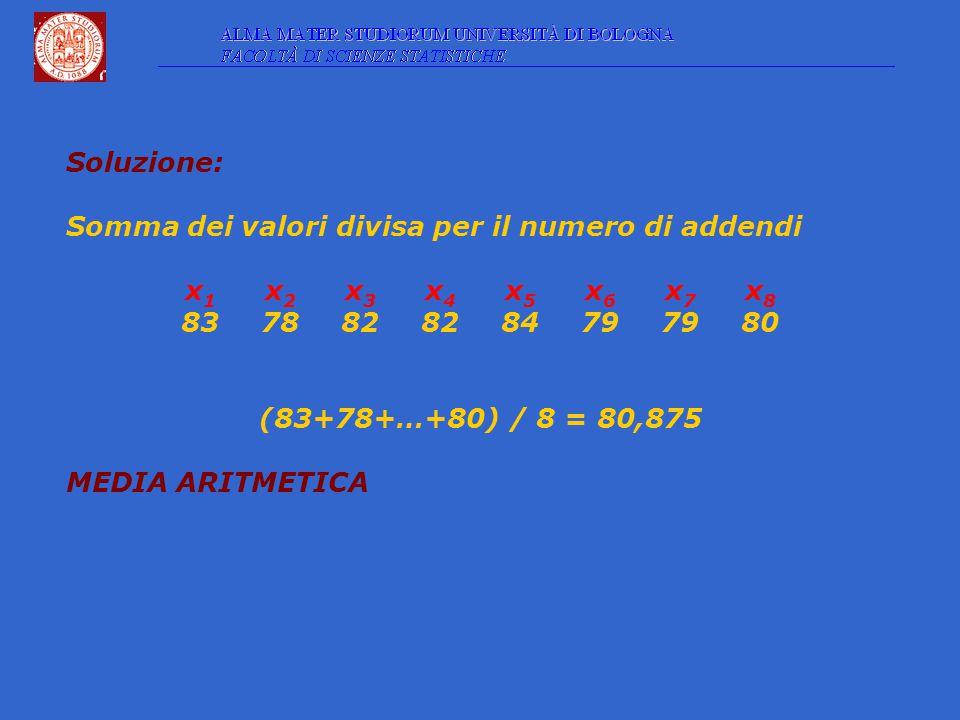 Soluzione: Somma dei valori divisa per il numero di addendi x 1 x 2 x 3 x 4 x 5 x 6 x 7 x 8 8378828284797980 (83+78+…+80) / 8 = 80,875 MEDIA ARITMETICA