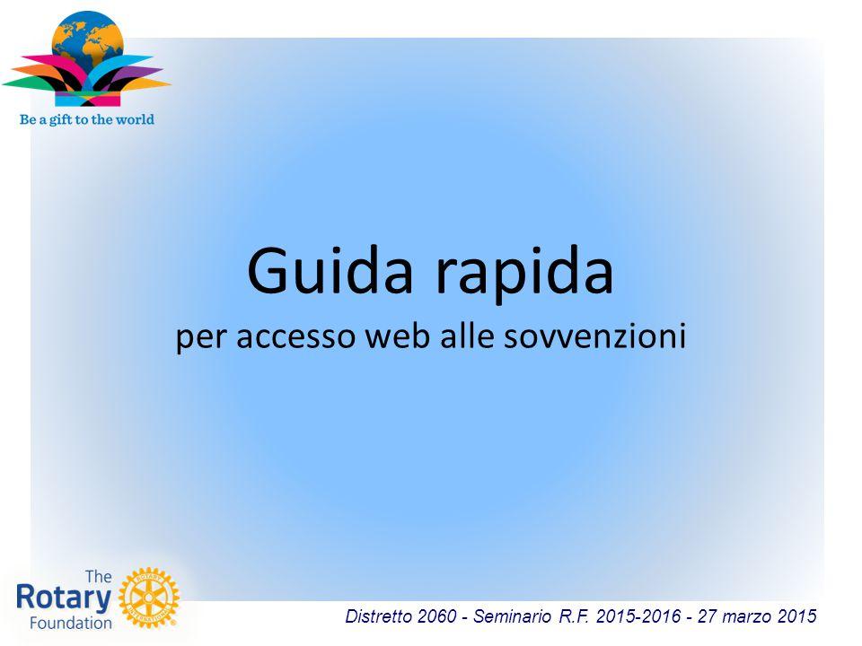 Distretto 2060 - Seminario R.F. 2015-2016 - 27 marzo 2015 Guida rapida per accesso web alle sovvenzioni