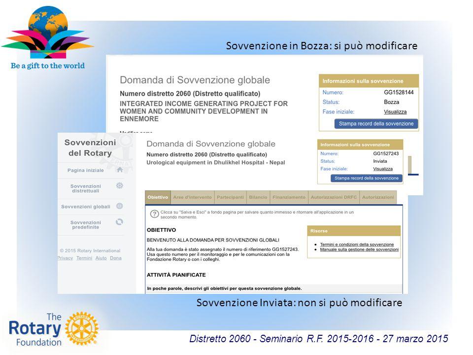 Distretto 2060 - Seminario R.F. 2015-2016 - 27 marzo 2015 Sovvenzione in Bozza: si può modificare Sovvenzione Inviata: non si può modificare