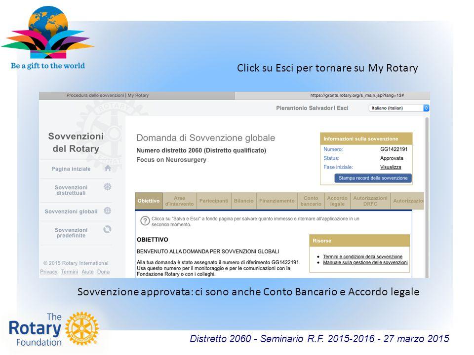 Distretto 2060 - Seminario R.F. 2015-2016 - 27 marzo 2015 Sovvenzione approvata: ci sono anche Conto Bancario e Accordo legale Click su Esci per torna