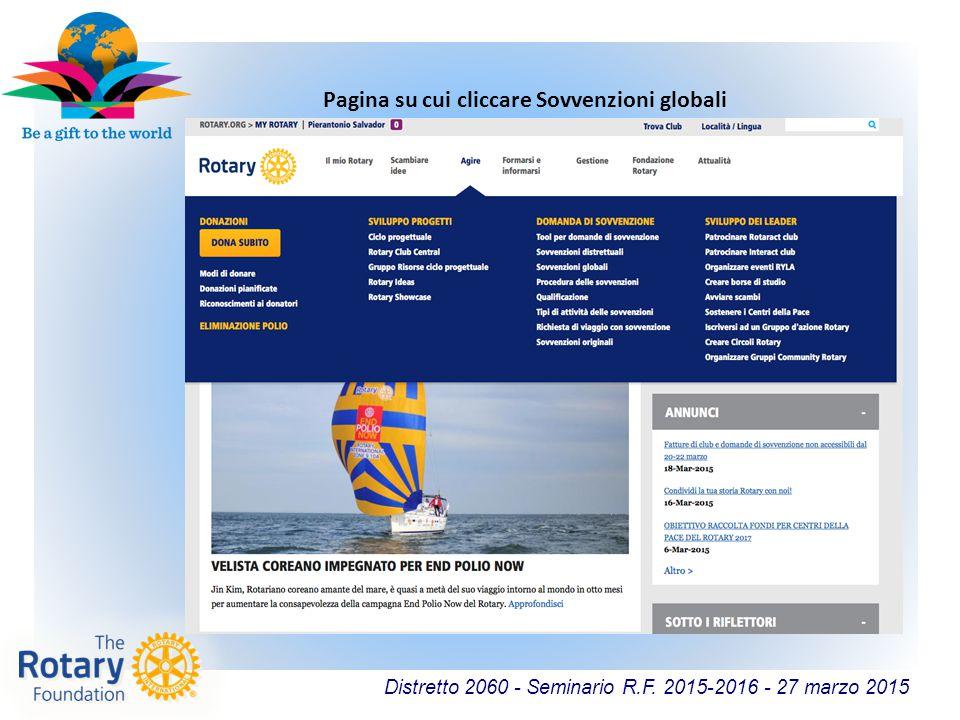 Distretto 2060 - Seminario R.F. 2015-2016 - 27 marzo 2015 Pagina su cui cliccare Sovvenzioni globali