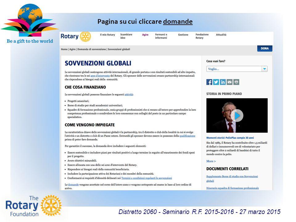 Distretto 2060 - Seminario R.F. 2015-2016 - 27 marzo 2015 Pagina su cui cliccare domande