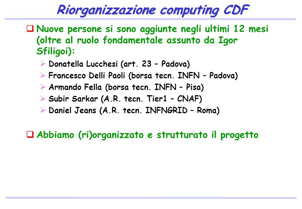 Riorganizzazione computing CDF  Nuove persone si sono aggiunte negli ultimi 12 mesi (oltre al ruolo fondamentale assunto da Igor Sfiligoi):  Donatella Lucchesi (art.