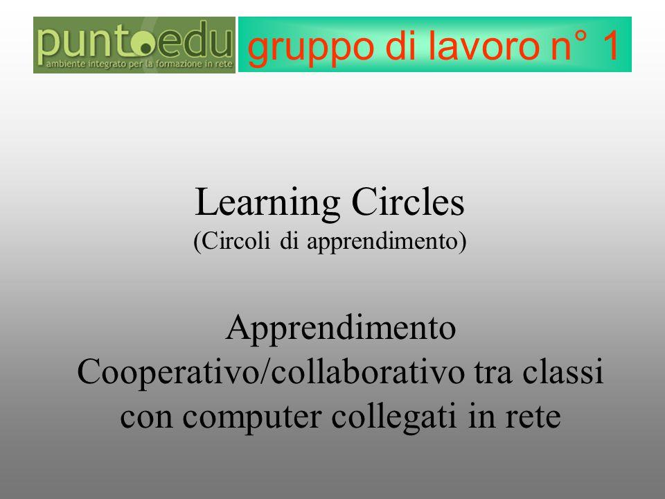 gruppo di lavoro n° 1 Learning Circles (Circoli di apprendimento) Apprendimento Cooperativo/collaborativo tra classi con computer collegati in rete