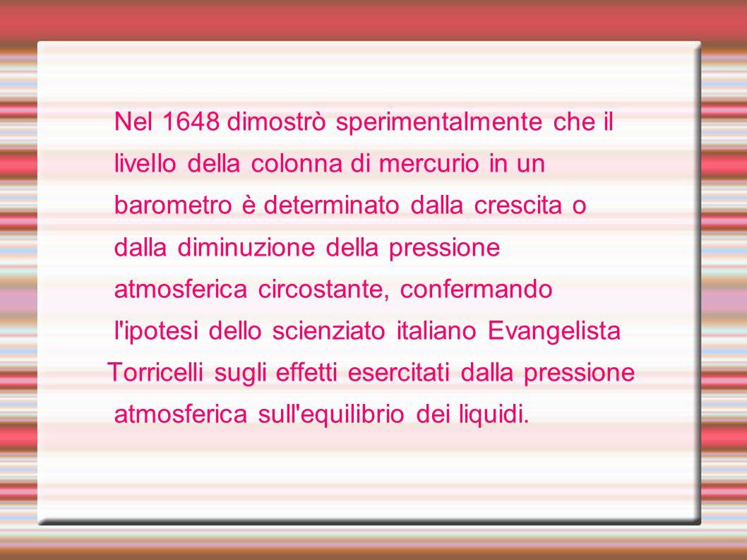 Nel 1648 dimostrò sperimentalmente che il livello della colonna di mercurio in un barometro è determinato dalla crescita o dalla diminuzione della pre