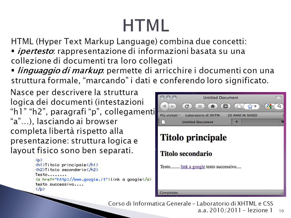10 HTML (Hyper Text Markup Language) combina due concetti:  ipertesto: rappresentazione di informazioni basata su una collezione di documenti tra lor