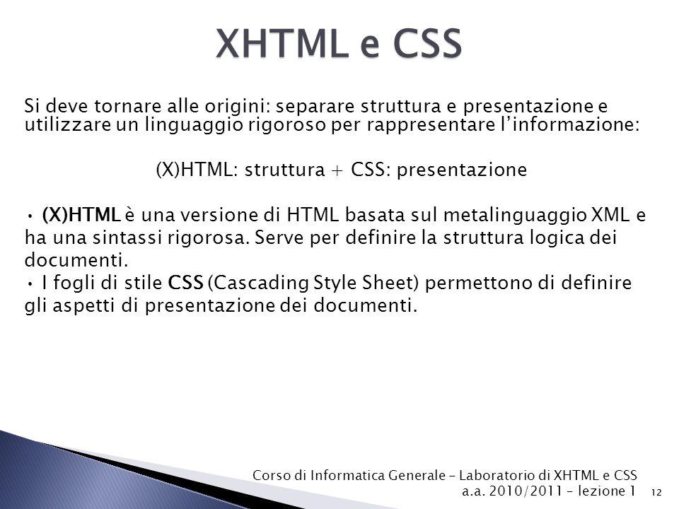 Corso di Informatica Generale - Laboratorio di XHTML e CSS a.a. 2010/2011 – lezione 1 12 Si deve tornare alle origini: separare struttura e presentazi