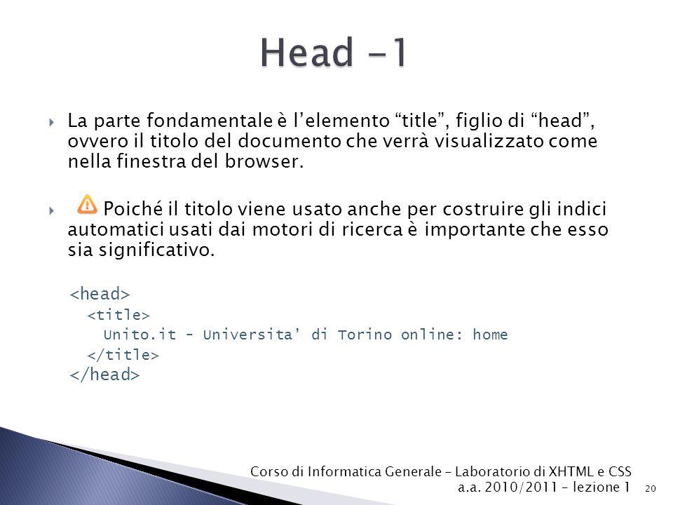 """ La parte fondamentale è l'elemento """"title"""", figlio di """"head"""", ovvero il titolo del documento che verrà visualizzato come nella finestra del browser."""
