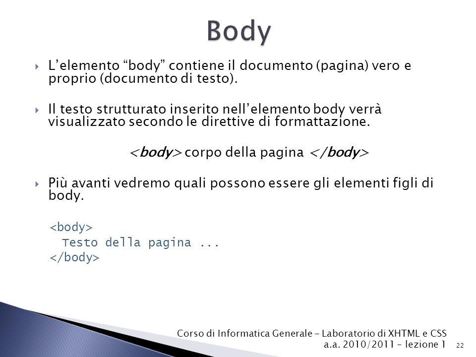  L'elemento body contiene il documento (pagina) vero e proprio (documento di testo).
