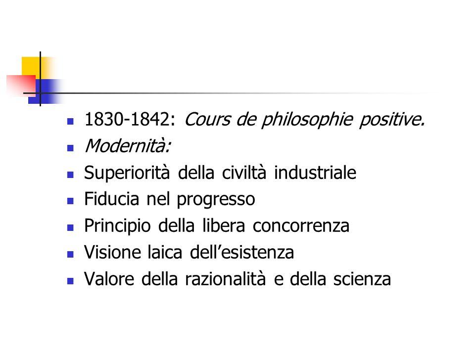 1830-1842: Cours de philosophie positive. Modernità: Superiorità della civiltà industriale Fiducia nel progresso Principio della libera concorrenza Vi