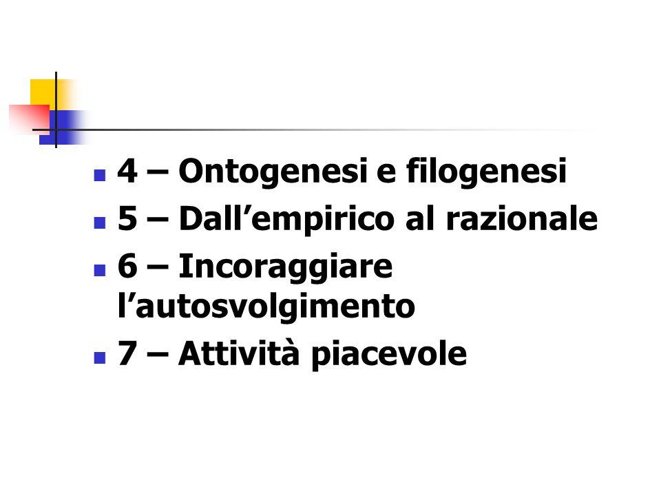 4 – Ontogenesi e filogenesi 5 – Dall'empirico al razionale 6 – Incoraggiare l'autosvolgimento 7 – Attività piacevole