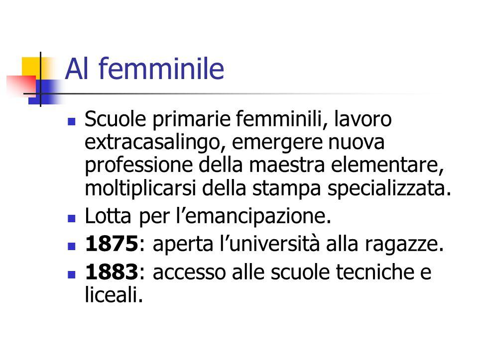 Al femminile Scuole primarie femminili, lavoro extracasalingo, emergere nuova professione della maestra elementare, moltiplicarsi della stampa specializzata.