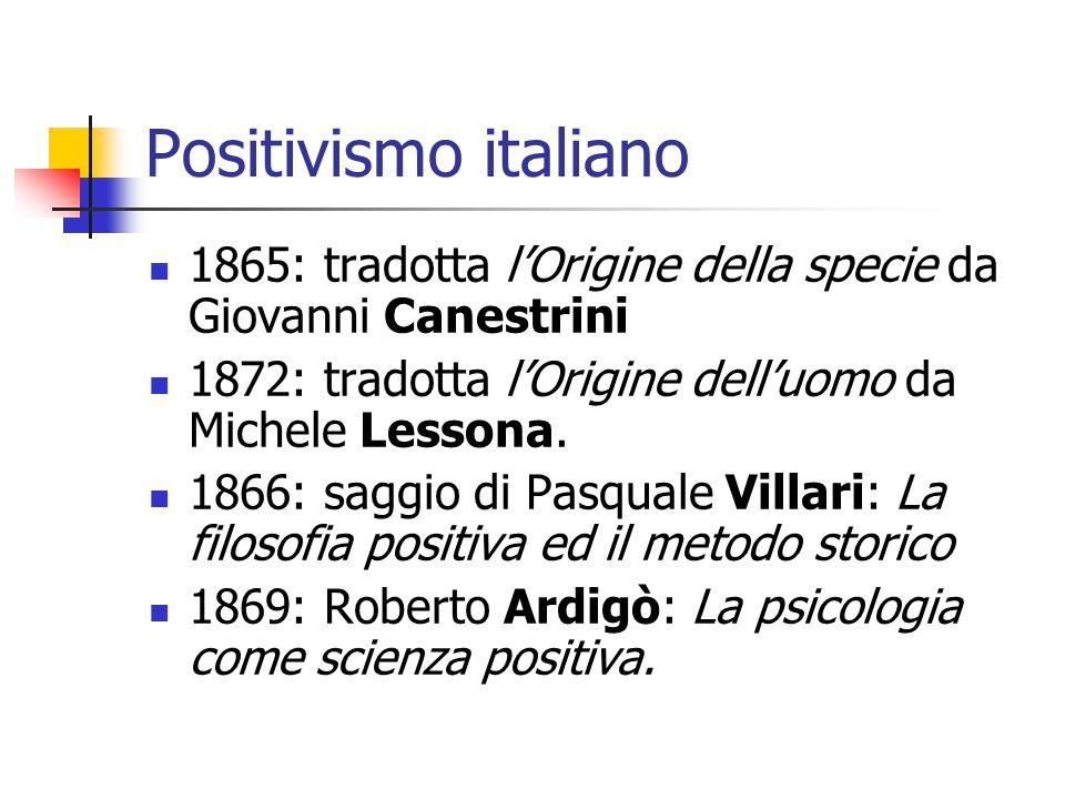 Positivismo italiano 1865: tradotta l'Origine della specie da Giovanni Canestrini 1872: tradotta l'Origine dell'uomo da Michele Lessona. 1866: saggio
