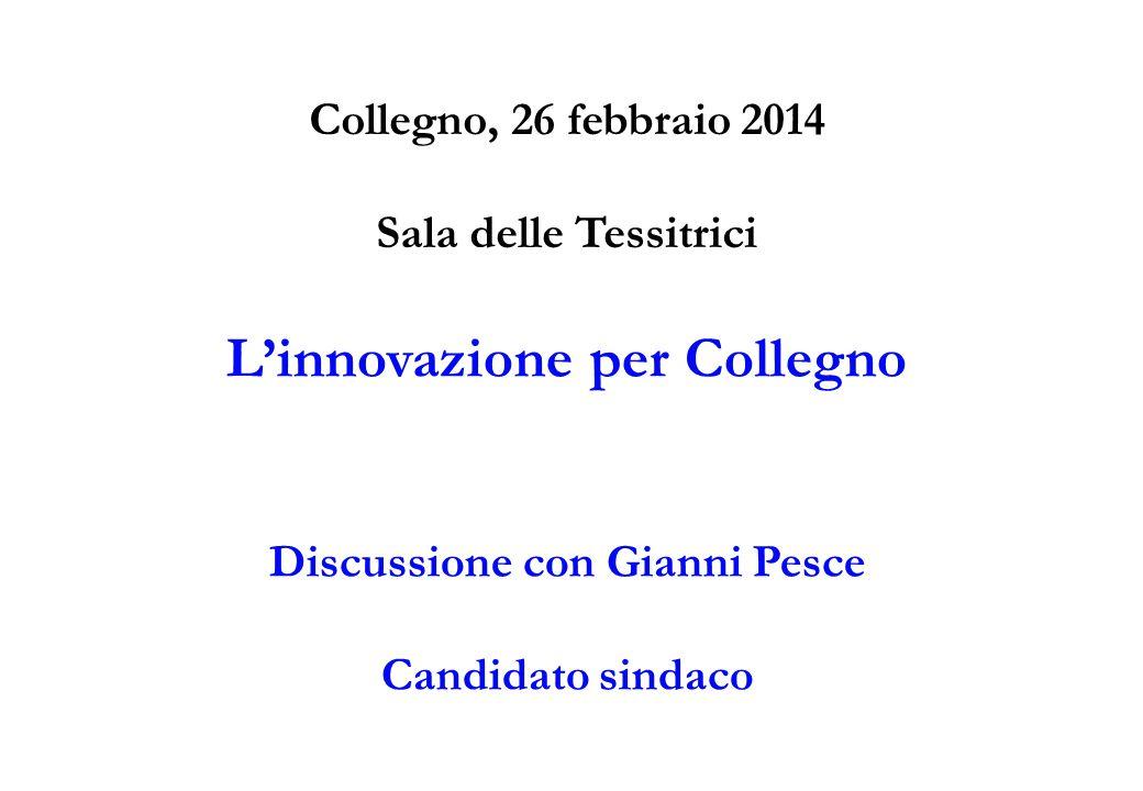 Collegno, 26 febbraio 2014 Sala delle Tessitrici L'innovazione per Collegno Discussione con Gianni Pesce Candidato sindaco