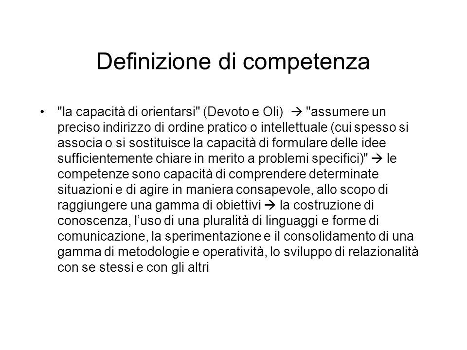 Definizione di competenza