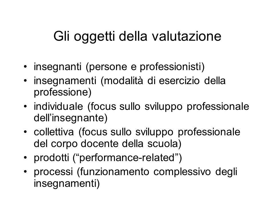 Gli oggetti della valutazione insegnanti (persone e professionisti) insegnamenti (modalità di esercizio della professione) individuale (focus sullo sv