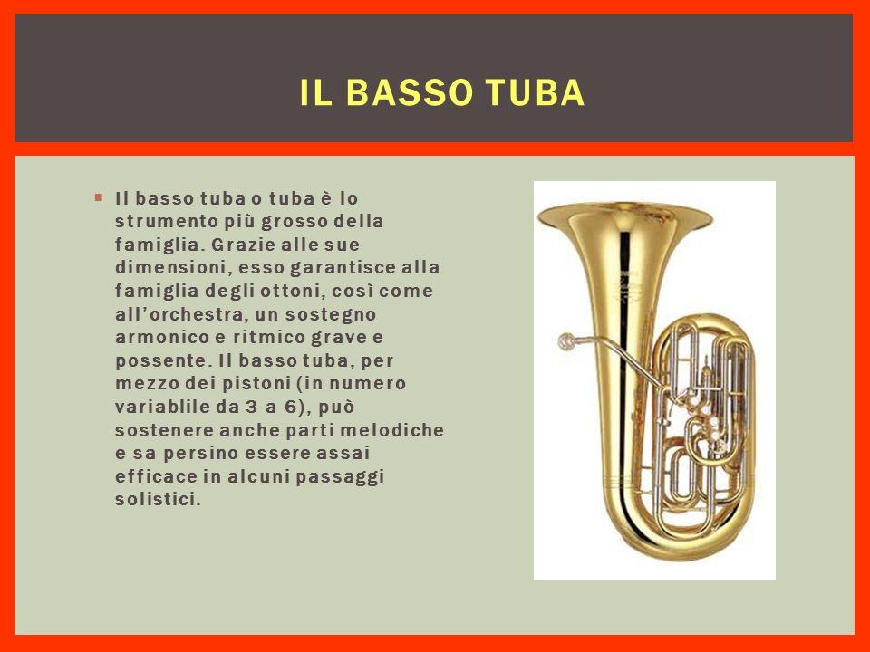 IL BASSO TUBA  Il basso tuba o tuba è lo strumento più grosso della famiglia. Grazie alle sue dimensioni, esso garantisce alla famiglia degli ottoni,