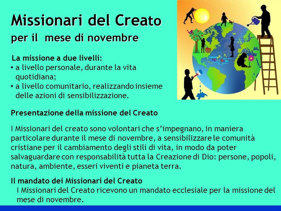 Missionari del Crea to per il mese di novembre per il mese di novembre La missione a due livelli: a livello personale, durante la vita quotidiana; a livello comunitario, realizzando insieme delle azioni di sensibilizzazione.