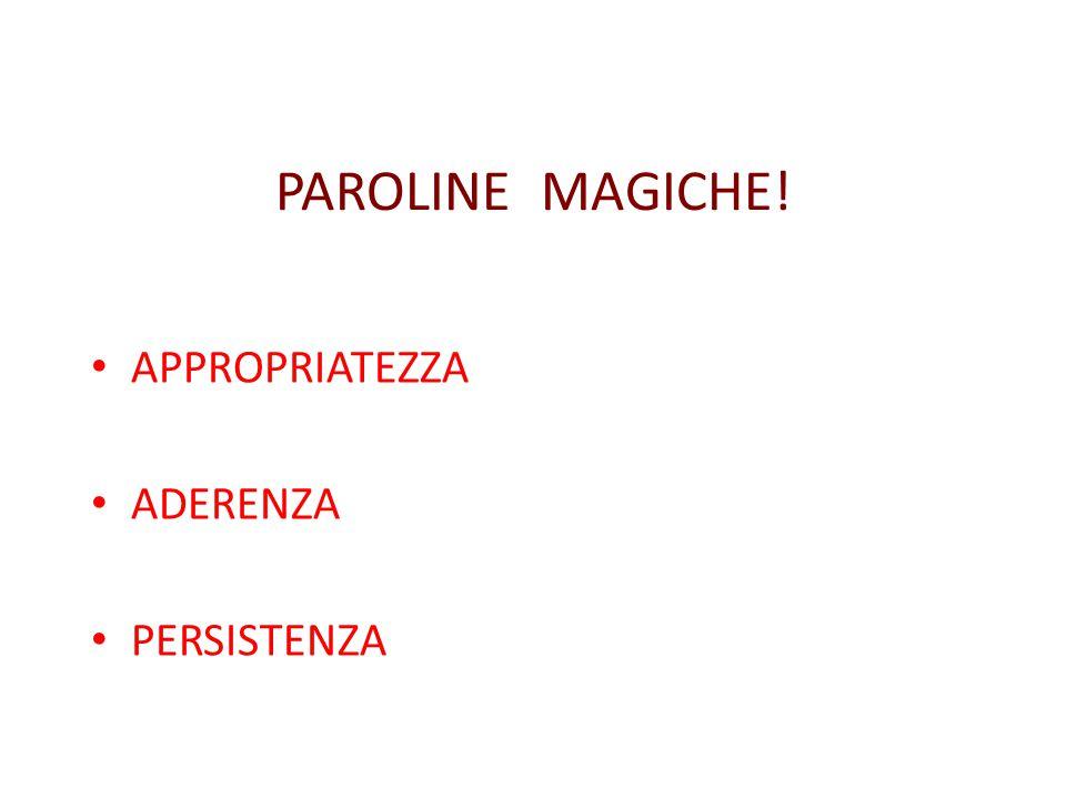 PAROLINE MAGICHE! APPROPRIATEZZA ADERENZA PERSISTENZA