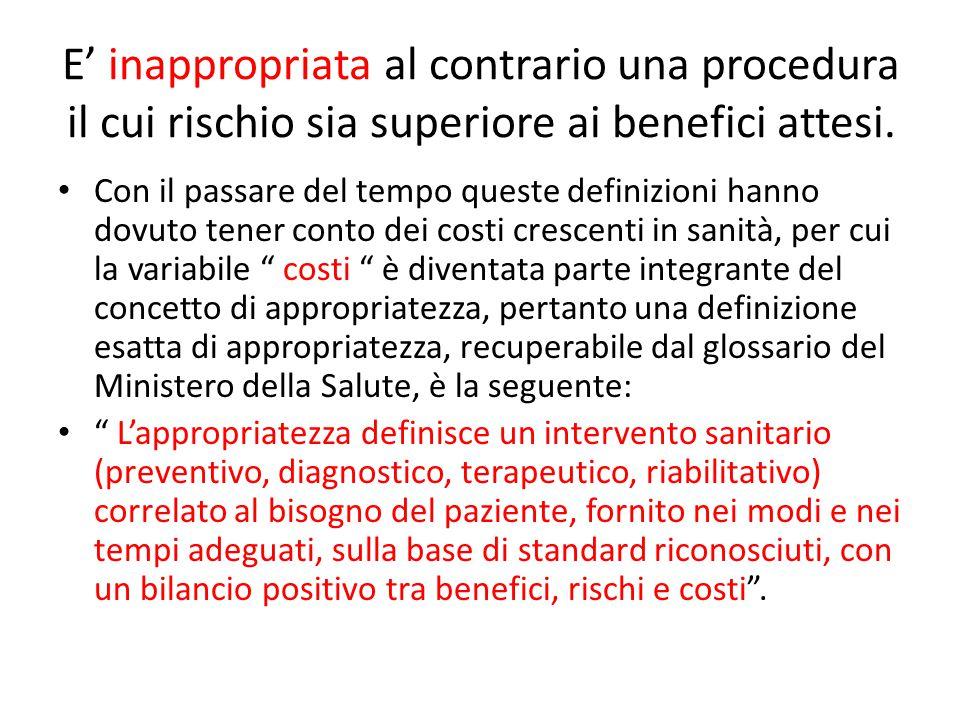E' inappropriata al contrario una procedura il cui rischio sia superiore ai benefici attesi.