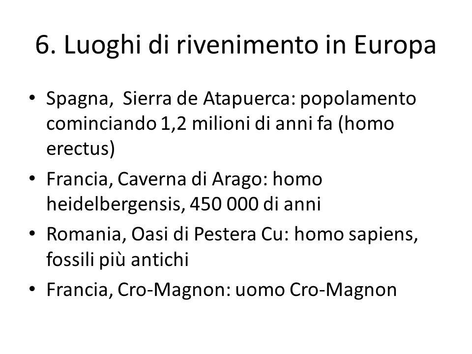 6. Luoghi di rivenimento in Europa Spagna, Sierra de Atapuerca: popolamento cominciando 1,2 milioni di anni fa (homo erectus) Francia, Caverna di Arag