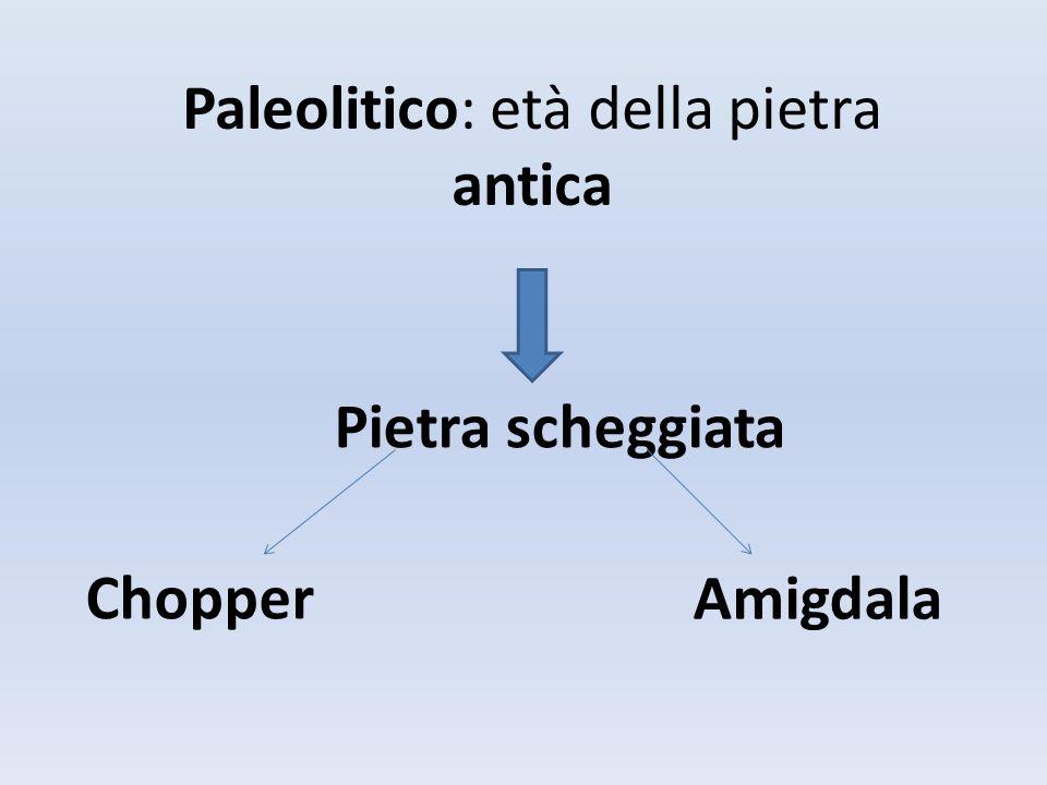 Paleolitico: età della pietra antica Pietra scheggiata Chopper Amigdala