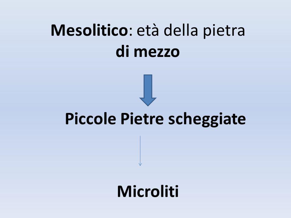 Mesolitico: età della pietra di mezzo Piccole Pietre scheggiate Microliti