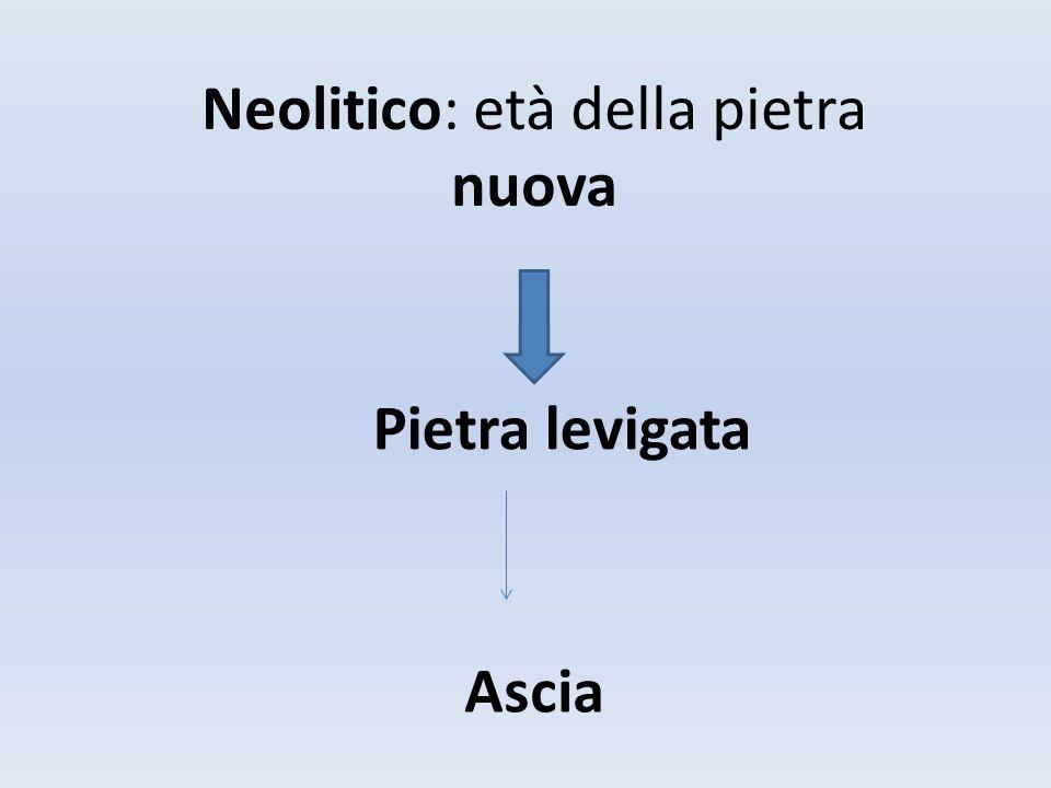 Neolitico: età della pietra nuova Pietra levigata Ascia