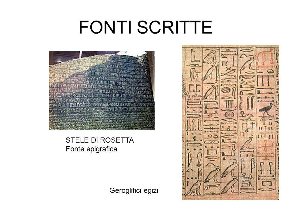 FONTI SCRITTE STELE DI ROSETTA Fonte epigrafica Geroglifici egizi