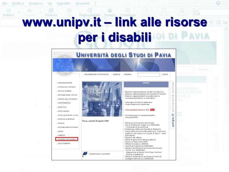 www.unipv.it – link alle risorse per i disabili