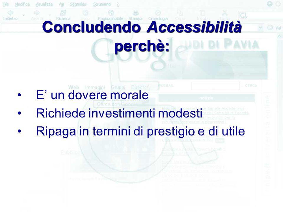 Concludendo Accessibilità perchè: E' un dovere morale Richiede investimenti modesti Ripaga in termini di prestigio e di utile