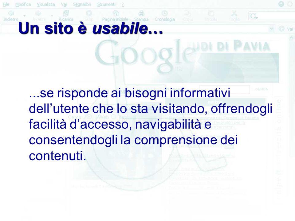 Un sito è usabile…...se risponde ai bisogni informativi dell'utente che lo sta visitando, offrendogli facilità d'accesso, navigabilità e consentendogli la comprensione dei contenuti.
