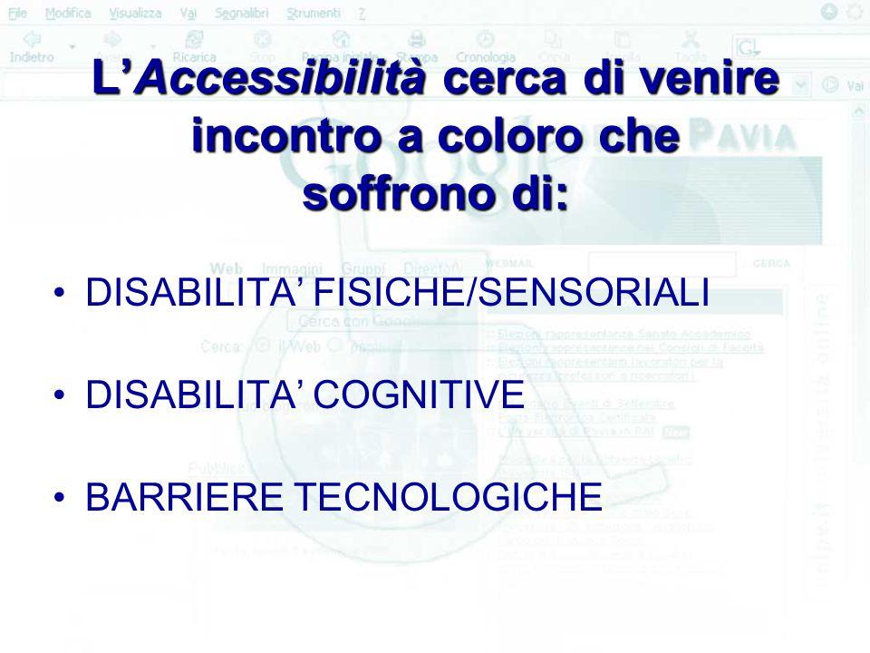 L'Accessibilità cerca di venire incontro a coloro che soffrono di: DISABILITA' FISICHE/SENSORIALI DISABILITA' COGNITIVE BARRIERE TECNOLOGICHE