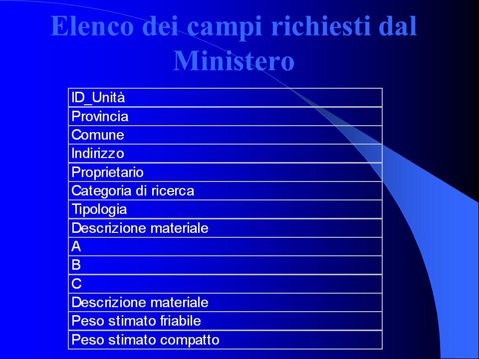 Elenco dei campi richiesti dal Ministero
